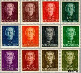 Nederlandse Antillen NA 218#229  1950 Type 'En Face' 15+5 cent  Postfris
