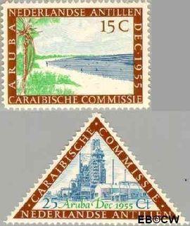 Nederlandse Antillen NA 255#256  1955 Caraïbische Commissie 25+5 cent  Postfris