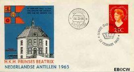 Nederlandse Antillen NA E34  1965 Bezoek Prinses Beatrix 25 cent  FDC zonder adres