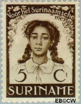 Suriname SU 185  1938 Vrijverklaring slaven 5+3 cent  Gestempeld