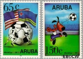Aruba AR 142#143  1994 WK Voetbal  cent  Postfris