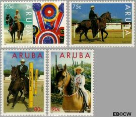 Aruba AR 156#159  1995 Paardensport  cent  Postfris