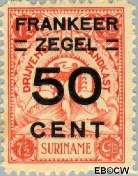 Suriname SU 136  1927 Opruimingsuitgifte 50 op 750 cent  Gestempeld