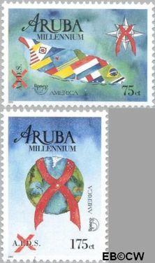 Aruba AR 247#248  2000 Millennium/Aidsbestrijding  cent  Postfris