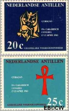 Nederlandse Antillen NA 334#335  1963 Caraïbisch congres  cent  Postfris