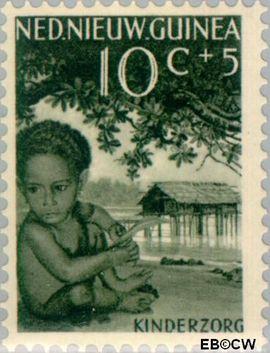Nieuw-Guinea NG 46  1958 Papoea-kinderen 10+5 cent  Gestempeld