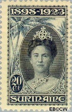 Suriname SU 106  1923 Regeringsjubileum Wilhelmina 1898-1923 20 cent  Gestempeld