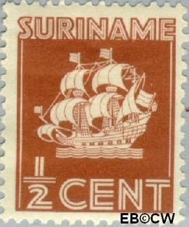 Suriname SU 157  1936 Scheepje ½ cent  Gestempeld