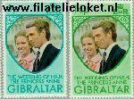 Gibraltar gib 308#309  1973 Prinses Anne en Mark Phillips- Huwelijk  Postfris