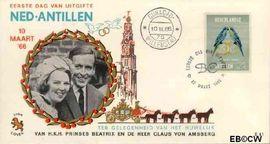 Nederlandse Antillen NA E41  1966 Huwelijk Beatrix en Claus 10+5 cent  FDC zonder adres
