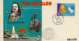 Nederlandse Antillen NA E42  1966 Verblijf de Ruyter op Sint Eustatius 25+10 cent  FDC zonder adres