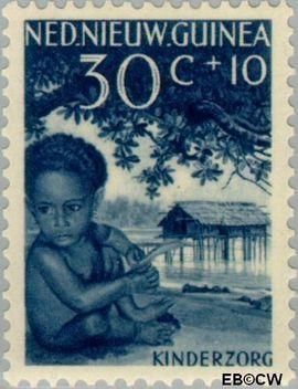 Nieuw-Guinea NG 48  1958 Papoea-kinderen 30+10 cent  Gestempeld