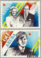 Aruba AR 22#23  1987 Bezoek Koninklijke familie  cent  Postfris