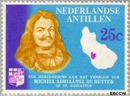 Nederlandse Antillen NA 371  1966 Verblijf de Ruyter op Sint Eustatius 25 cent  Gestempeld