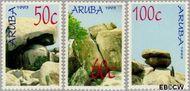 Aruba AR 119#121  1993 Rotsformaties  cent  Gestempeld