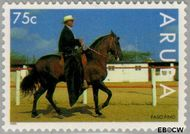 Aruba AR 157  1995 Paardensport 75 cent  Gestempeld