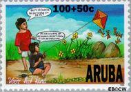 Aruba AR 187  1996 Kind en dier 100+50 cent  Gestempeld