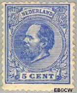 Nederland NL 19  1872 Koning Willem III- 5e emissie 5 cent  Gestempeld