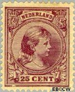 Nederland NL 42  1891 Koningin Wilhelmina- 'Hangend haar' 25 cent  Gestempeld