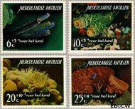 Nederlandse Antillen NA 364#367  1965 Zeeleven  cent  Gestempeld