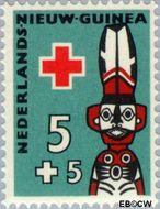 Nieuw-Guinea NG 49  1958 Voorouderbeelden 5+5 cent  Gestempeld
