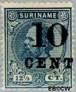 Suriname SU 29  1898 Hulpuitgifte 10 op 12½ cent  Gestempeld