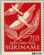 Suriname SU 321  1955 Bevrijding Nederland 7½+3½ cent  Gestempeld