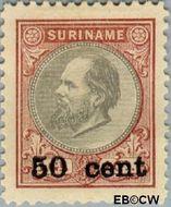 Suriname SU 39  1900 Hulpuitgifte 50 op 100 cent  Gestempeld