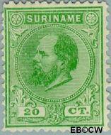 Suriname SU 9  1888 Eerste emissie 20 cent  Gestempeld
