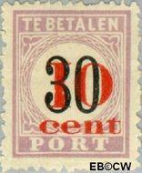 Suriname SU PT15  1911 Opdruk 10 op 30 cent  Gestempeld