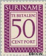 Suriname SU PT55  1956 Port 50 cent  Gestempeld