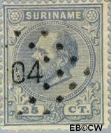 Suriname SU 10  1880 Eerste emissie 25 cent  Gestempeld