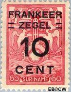 Suriname SU 131  1927 Opruimingsuitgifte 10 op 60 cent  Gestempeld