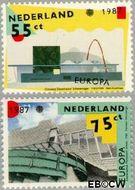 Nederland NL 1376#1377  1987 C.E.P.T.- Moderne architectuur  cent  Gestempeld