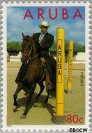 Aruba AR 158  1995 Paardensport 80 cent  Gestempeld