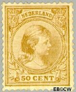 Nederland NL 43  1891 Koningin Wilhelmina- 'Hangend haar' 50 cent  Gestempeld