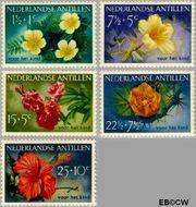 Nederlandse Antillen NA 248#252  1955 Bloemen  cent  Gestempeld