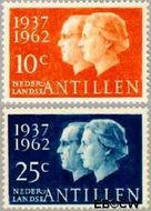 Nederlandse Antillen NA 323#324  1962 Huwelijksjubileum Juliana en Bernhard 6 cent  Postfris