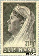 Suriname SU 171  1936 Wilhelmina met sluier 21 cent  Gestempeld