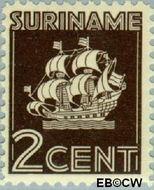Suriname SU 201  1941 Scheepje 2 cent  Gestempeld