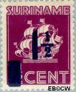 Suriname SU 211  1945 Scheepje 2½ op 7½ cent  Gestempeld