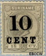 Suriname SU 30  1898 Hulpuitgifte 10 op 15 cent  Gestempeld