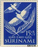 Suriname SU 322  1955 Bevrijding Nederland 15+8 cent  Gestempeld
