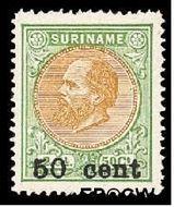 Suriname SU 40  1900 Hulpuitgifte 50 op 250 cent  Gestempeld