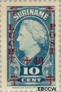 Suriname SU LP27  1946 Koningin Juliana 10+40 op 10 cent  Gestempeld