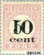 Suriname SU PT16  1911 Opdruk 10 op 50 cent  Gestempeld