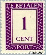Suriname SU PT36  1950 Port 1 cent  Gestempeld
