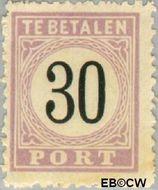 Suriname SU PT6  1886 Port 30 cent  Gestempeld
