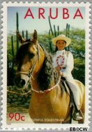 Aruba AR 159  1995 Paardensport 90 cent  Gestempeld