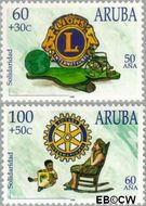 Aruba AR 211#212  1998 Lions en Rotary  cent  Gestempeld